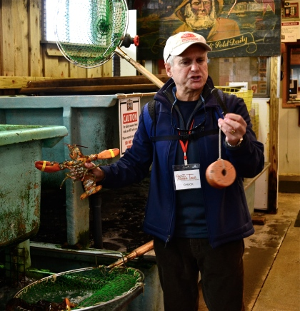 Chuck showing off his lobster skills at the