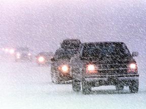 snow storm driving